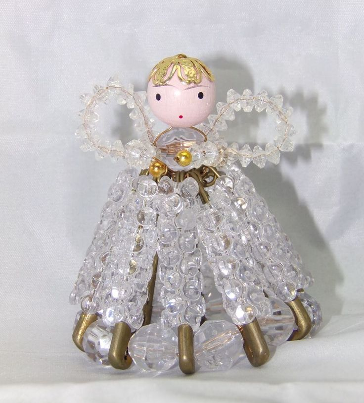 Vintage Folk Art Clear Beaded Safety Pin Holiday Angel Collectible  | eBay
