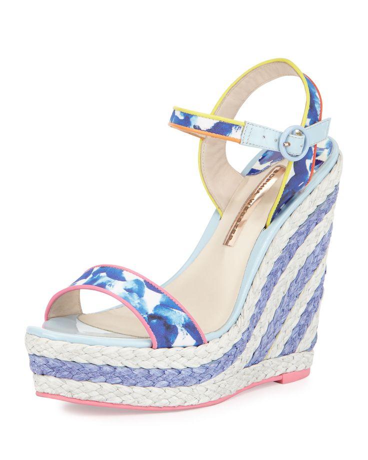 Lucita Printed Espadrille Wedge Sandal, Oceana/Multi, Women's, Size: 40.5B/10.5B, Blue - Sophia Webster