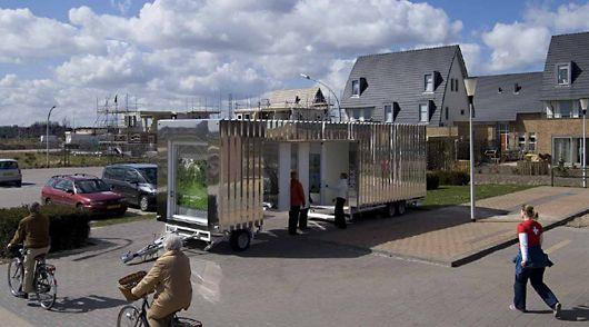 ELstudio - Mobex A mobile exhibition pavilion touring different locations a new housing development area under-construction.