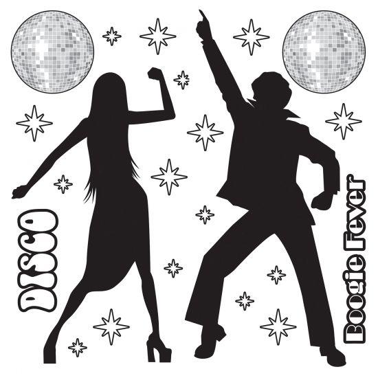 Scenesetter disco decoratie. Zwart met witte cut-outs in jaren 70 disco fever thema. Bestaat uit 22 delen tussen de 7.5 cm en 152 cm groot.