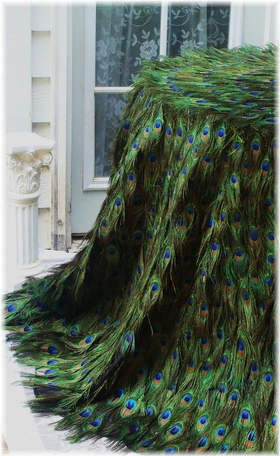 Stunning Peacock Feather Tablecloth for 108 circle  by Ivyndell, $4000.00