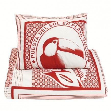 print bedrukt dekbedovertrek dekbed beddengoed bedtextiel rood wit dessin toekan vogel tribal exotisch vrolijk stoer