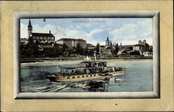 Passepartout Ansichtskarte / Postkarte Litoměřice Leitmeritz Reg. Aussig, Elbseite, Elbdampfer Habsburg