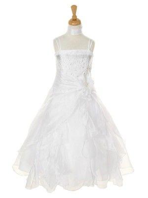 White Crystal Organza Cascading Ruffles Flower Girl Dress (Sizes 2-14) - Junior Bridesmaid Dresses - JUNIOR