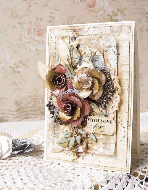 Рукодельные фантазии: Винтажная открытка для Freetany Flowers Vintage Card For Freetany Flowers