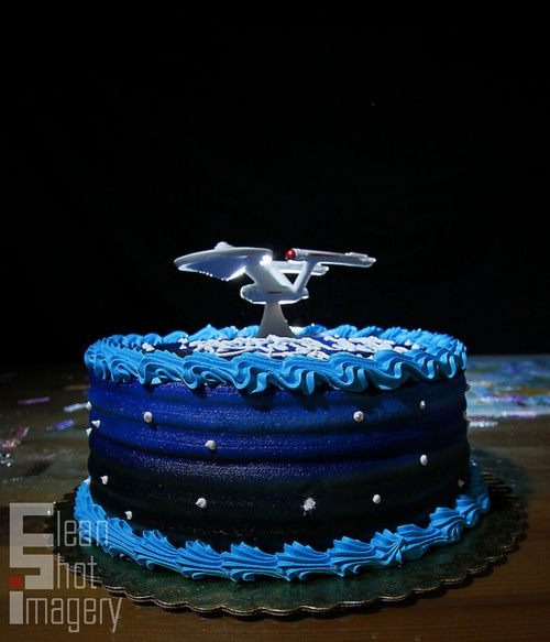 star trek cake.  I have these cake toppers.  They are cool.