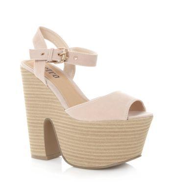 Cream Peeptoe Super Chunky Platform Heels