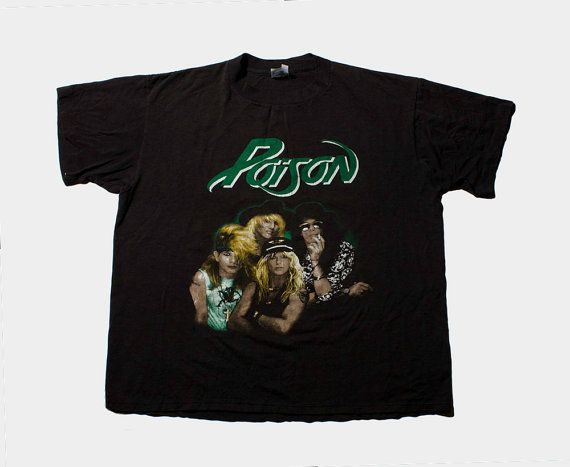 VTG 80's Poison Metal T-Shirt ( Large / Extra Large ) Unisex Hairmetal Every Rose Has It's Thorn Band Tee