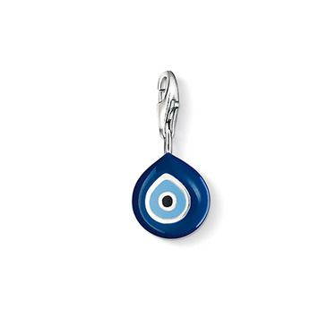 """THOMAS SABO Charm pendant """"Turkish eye"""" with lobster clasp,925 Sterling silver, black and blue-enamelled. The eye - in the Oriental culture, it is believed to protect the wearer from the evil eye. Size: 1.0 cm"""
