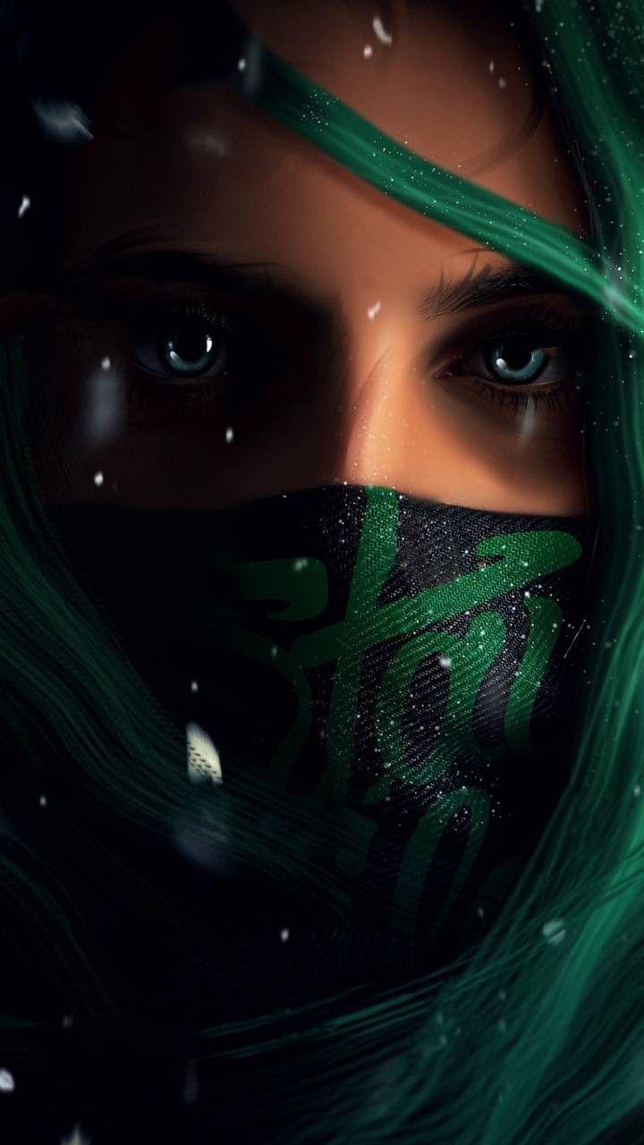 Black And Green Mask Girl Iphone Wallpaper Mystic Girls Eyes Wallpaper