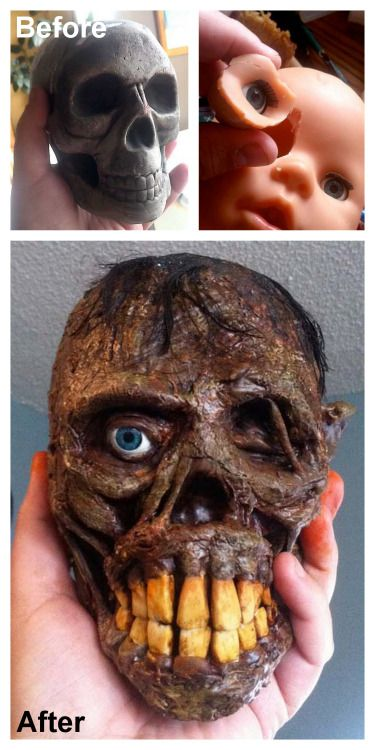 DIY Shrunken Head Tutorial from BradBlogSpeed. I really like this blog - all the tutorials are really detailed. The teeth are made out of polymer clay and the hair is from a doll.