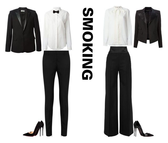 """Smoking"" by stylev ❤ liked on Polyvore featuring Alexandre Vauthier, Yves Saint Laurent, Burberry, Martin Grant, Anthony Vaccarello, M&S and Christian Louboutin"
