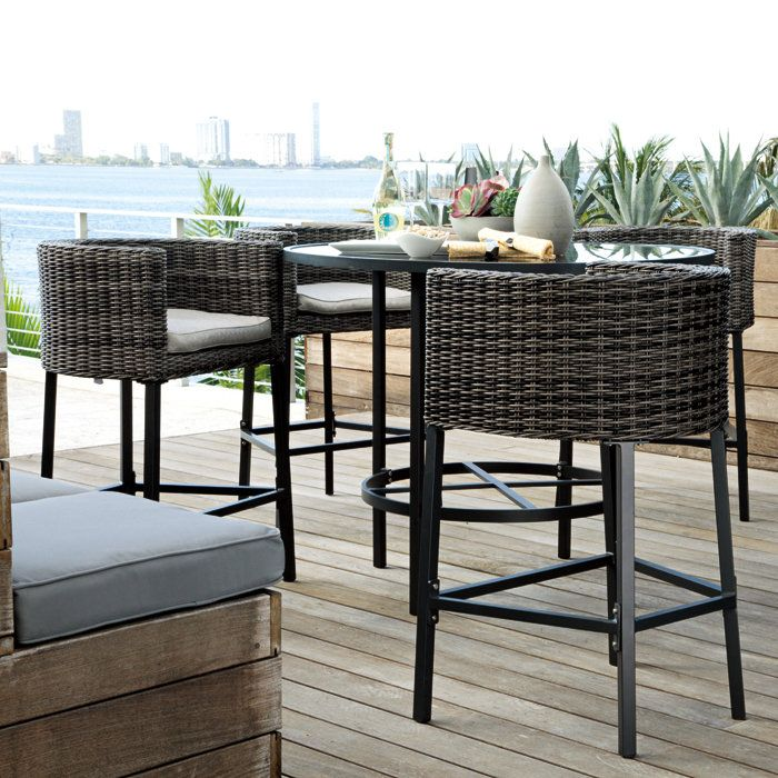 Bar Height Patio Table And Chairs Set For Dining Room