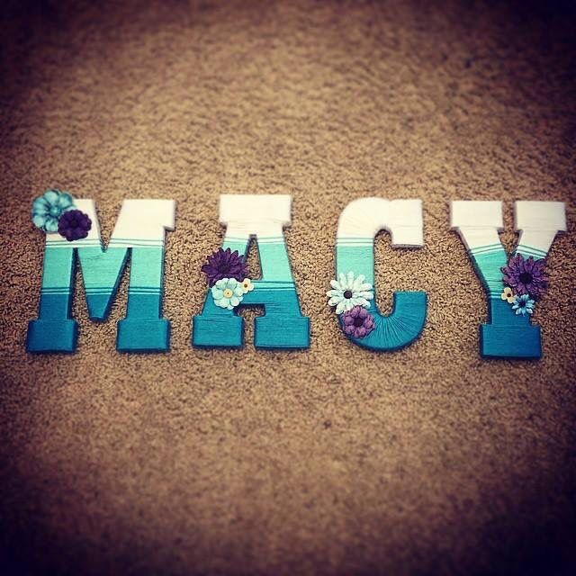 Yarn wrapped letters ombré http://m.me/beyondburlapandbuttons