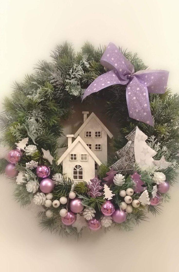 Die schicke Technik: Weihnachtskranz in Lavendel m…