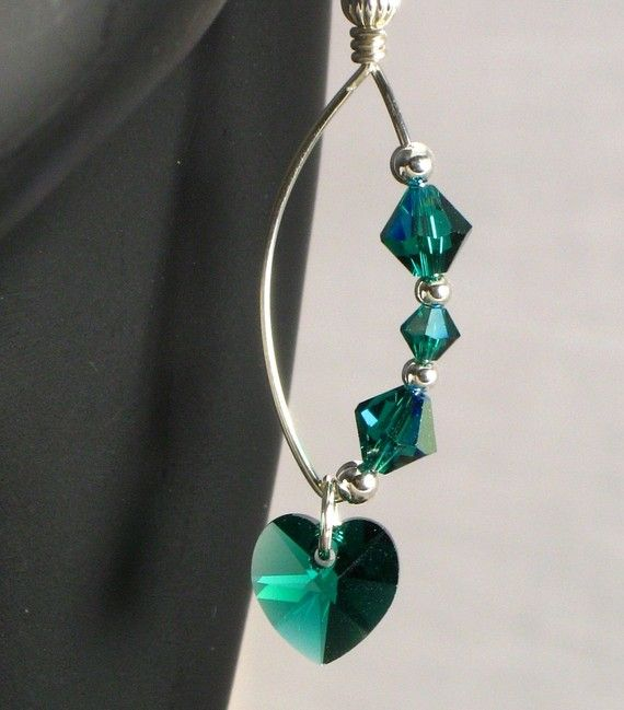 Emerald Green Heart Crystal on Wire Wrapped and Shaped Sterling Silver Drop Earrings