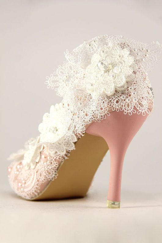 Lace wedding shoes / Одежда и аксессуары ручной