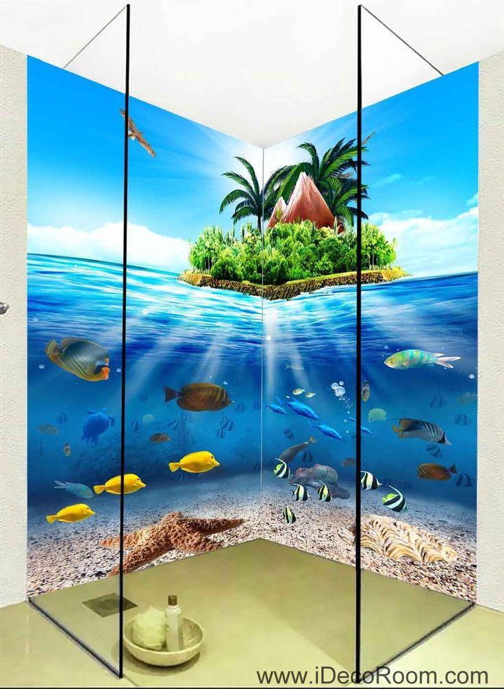 3D Wallpaper Tropical Island Fish Ocean Wall Murals Bathroom Decals Wall Art Print Home Office Decor