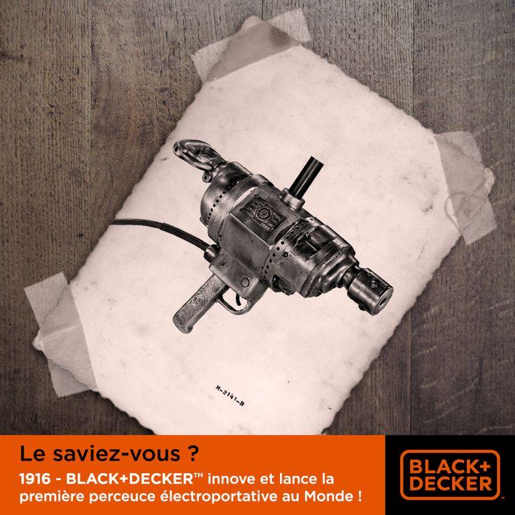 #LeSaviezVous ? BLACK+DECKER™ est à l'origine de la première perceuse électroportative au Monde ! Cette innovation transformant l'outil stationnaire en outil portatif marquera à jamais le début de l'industrie de l'outillage électrique d'aujourd'hui. #Histoire #Bricolage #Innovation
