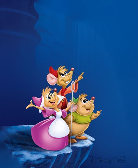 These mice are friends of Cinderella. They help Cinderella in any way they can. They are the ones Cinderella turns to when her step sisters or step mother hurts her feelings or be mean to her. Their names are Perla(in the pink dress), Jaq (in the red), and Gus (in the green).