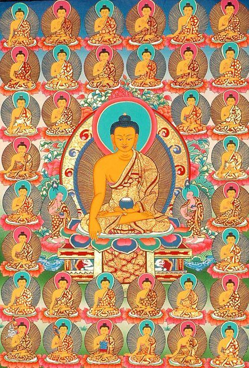 the 35 Confession Buddhas #thangka. More Buddha thanka paintings at traditionalartofnepal.com