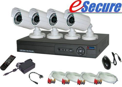 eSecure ES038546 8 Channel DVR + 4 High Resolution IR Bullet 26LED Camera Kit by eSecure. $353.45. Use the digital video recording security system to reduce the risk of theft in your home or office; know what your care-taker is doing while you are away; or monitor your business effectively from anywhere. eSecure's H.264 Security System makes advanced technologies simple. The kit comes with everything you need to set it up yourself. You can monitor your properties...