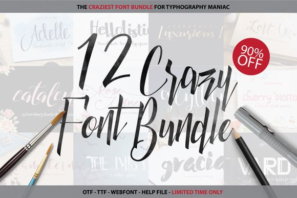 Crazy Font Bundle - 90% OFF by Font & Graphic Land on @creativemarket #fonts #fontbundles