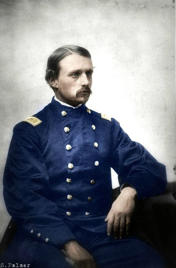 Robert Gould Shaw -- As Colonel, he commanded the all-black 54th Massachusetts Infantry Regiment, which entered the war in 1863. He was killed in the Second Battle of Fort Wagner, near Charleston, South Carolina. He is the principal subject of the 1989 film Glory. Photo colorized by S.Palmer.