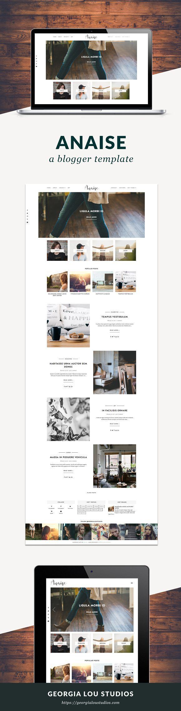 Blogger Template Responsive - Anaise by Georgia Lou Studios on @creativemarket