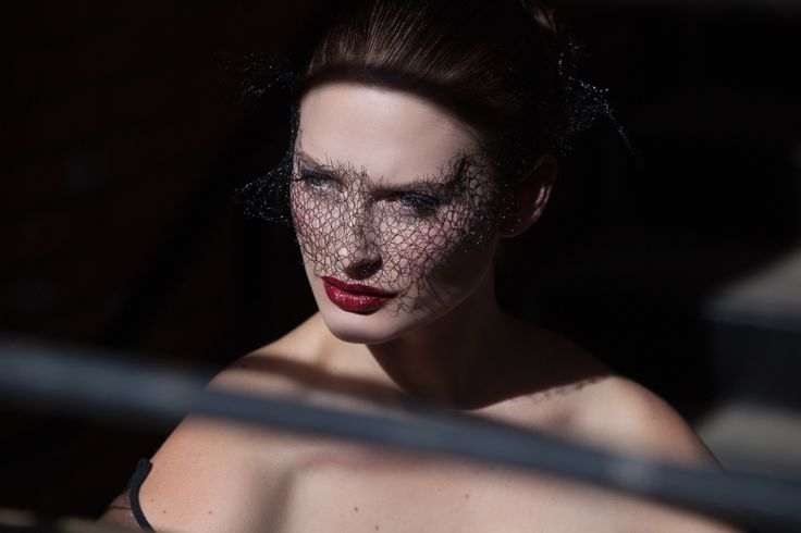Black mesh veil carved out of the moment. Sharp edges of shadow and thought. Fashion photography by Rebekah West. Contact Rebekah at http://www.rebekahwest.com/#!/contact Veil by Stoten Millinery. Makeup by Alchemy. Model Jessica Dunphy. #veil #feminine #couture #photography