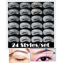 24 pcs/lote sourcils pochoirs 24 Styles réutilisable sourcils dessin Card Guide Brow modèle bricolage Make Up outils en gros(China (Mainland))
