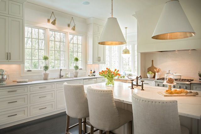 Large lighting fixtures above the island bring a contemporary edge to this kitchen.