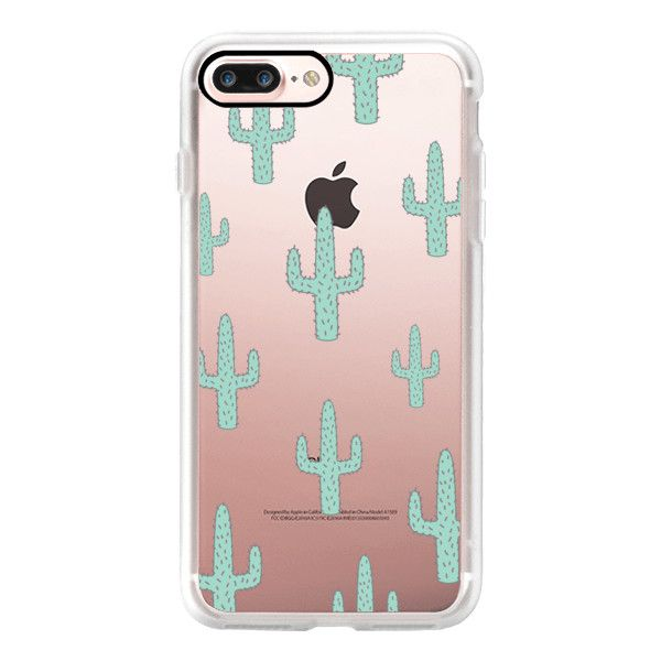 Mint Green Desert Cactus Chic Transparent Case 010 - iPhone 7 Plus... (695 ARS) ❤ liked on Polyvore featuring accessories, tech accessories, phones, iphone case, mint iphone case, transparent iphone case, iphone cases, clear iphone case and mint green iphone case