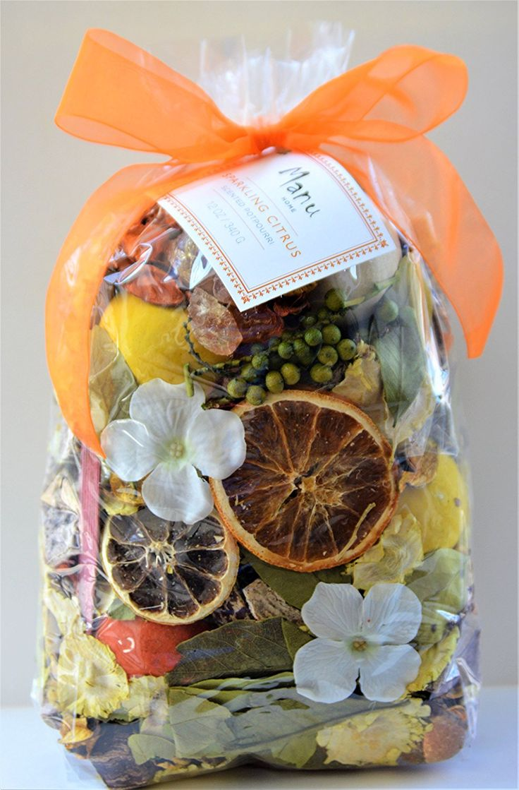 Manu Home Signature Sparkling Citrus Potpourri Bag-12 oz Scented Botanicals ~ Made with All Plant Materials and Beautiful Sap from Trees~ Made in USA -- Learn more by visiting the image link. (This is an affiliate link and I receive a commission for the sales)