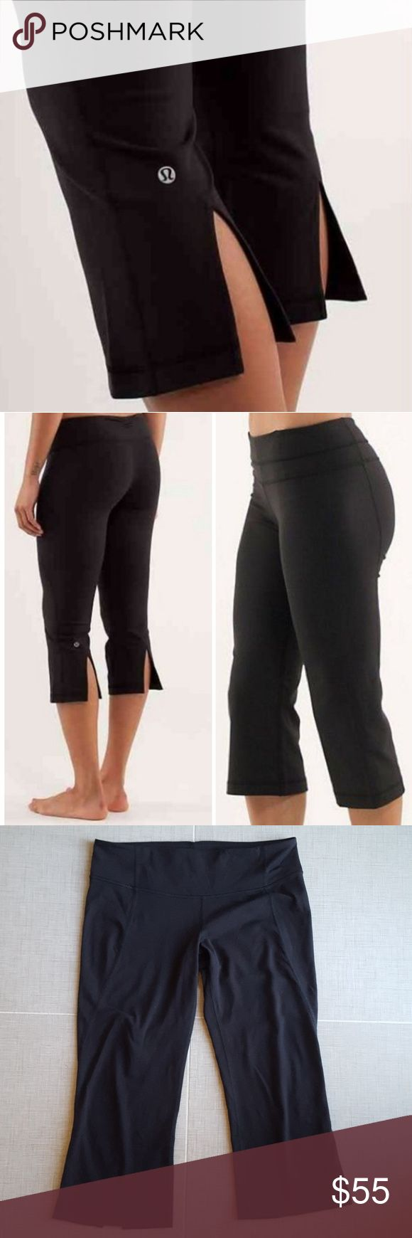"lululemon crops lululemon flare crops in brand new condition, zero pilling. First 2 photos are stock photos, all others are of actual pants for sale. Small storage pocket in front waistband with size dot. 20"" inseam. No trades. Bundle and save! lululemon athletica Pants"