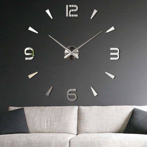 3D DIY Large Surface Mirror Sticker Home Office Room Decor Wall Clock