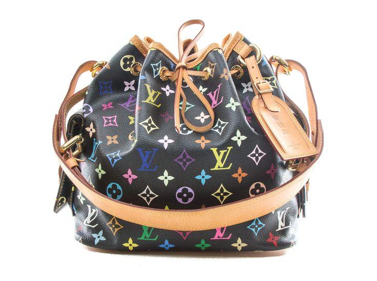 Authentic Louis Vuitton Multicolor Petit Noe Noir Black M42230