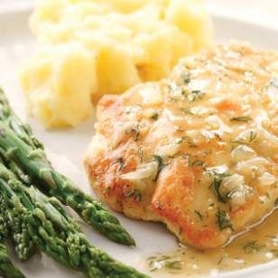 Lemon and dill chicken  Nutrition           Per serving: 173 calories; 6 g fat (1 g sat, 4 g mono); 64 mg cholesterol; 3 g carbohydrates; 0 g added sugars; 24 g pro...