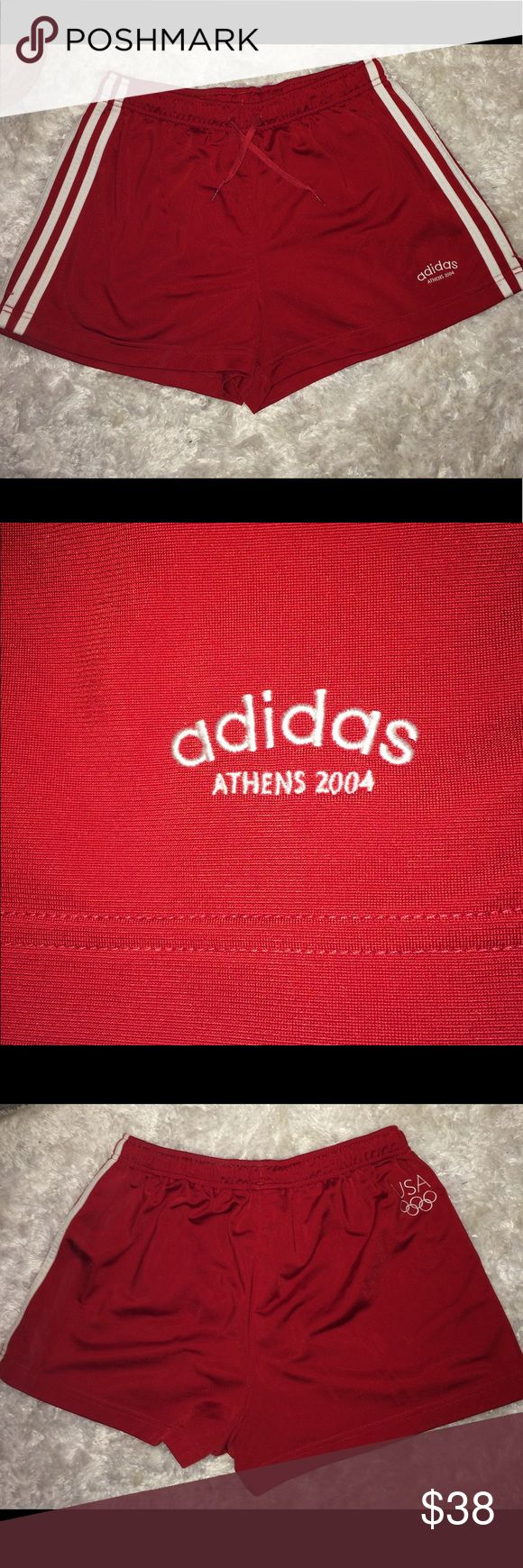 Adidas women's shorts Large From the 2004 Athens OLYMPICS these shorts are considered vintage. They have never been worn and are in perfect condition. They have small slits on the sides. On the lower left corner / 2004 Athens and on the back the USA Olympic symbol. adidas Shorts