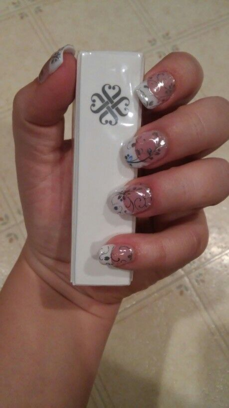 Jamberry Silver Floral on acrylic nails