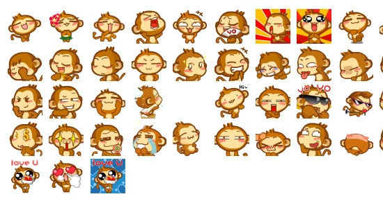 Yoyo & Cici – Funny Monkey Emoticon available in GIF and animated GIF!