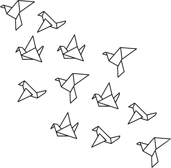 Origami-Flying Birds Wanddesign Aufkleber von TotalVinylDesign