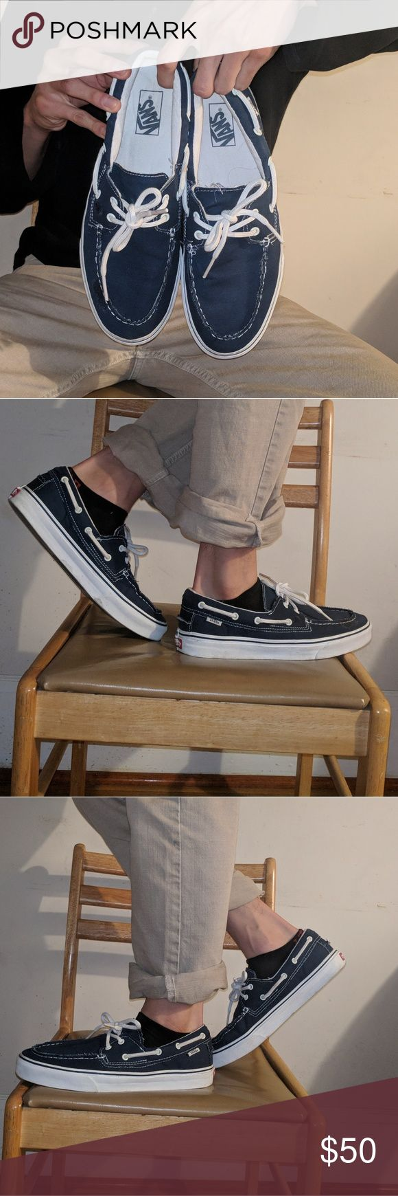 Navy Blue/ White Vans Boat Shoes These Boat Shoes have only been worn twice. Practically brand new. Still awesome. Vans Shoes Boat Shoes