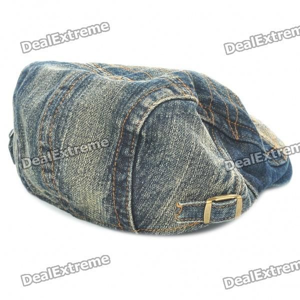 Vintage Jean Denim Fabric Cap Hat with Jamont Pattern