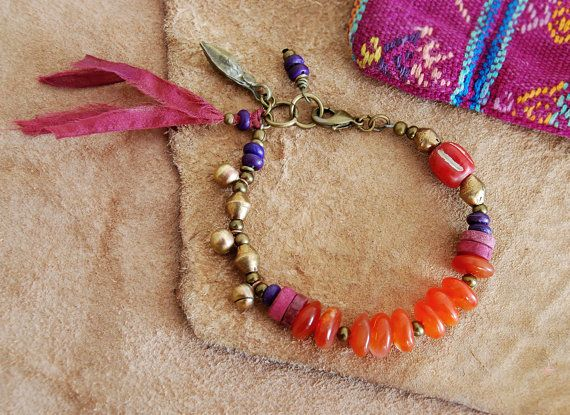 bohemian bracelet - boho bracelet - colorful jewelry - gypsy jewlery - yoga bracelet on Etsy, $57.00