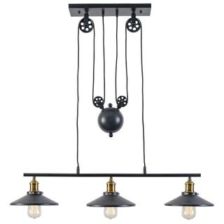 Light Society Rawley Grey Iron 3-light Pulley Pendant | Overstock.com Shopping - The Best Deals on Chandeliers & Pendants