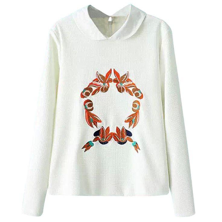 (オッサエプ)OASAP ピーターパンカラーカジュアルグラフィック刺繍スウェットシャツ L イエロー