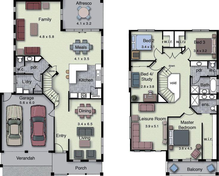 Plano de casa grande de 250 m2 con 4 dormitorios, diseño moderno-2