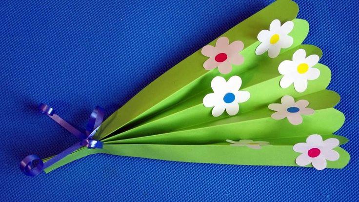 DIY букет цветов из бумаги для мамы и бабушки. Детские поделки на 8 марта в садик.