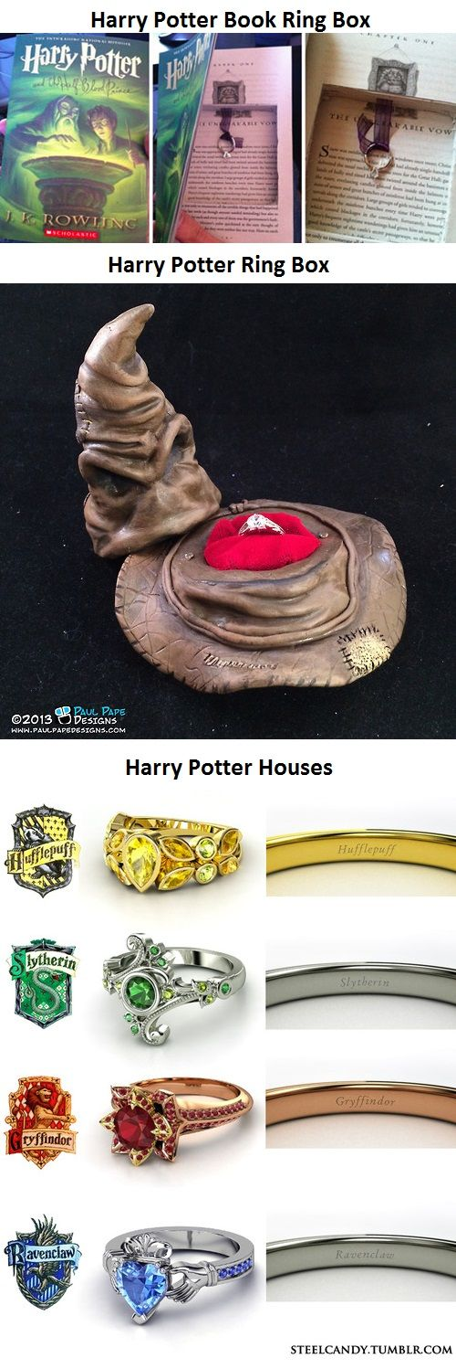 I like this, I don't ever want to be proposed to in theme... And why is Ravenclaw's ring an Irish Cladaugh ring?
